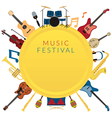 Music Instruments Objects Label Background vector image vector image