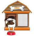 pug dog in dog house vector image vector image