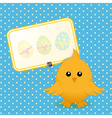 Easter chick and sign on blue background vector image