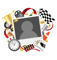race photo frame template vector image vector image