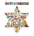 Hanukkah greeting cardIsrael symbols in David vector image