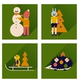 Set of flat icons with long shadow New Year vector image