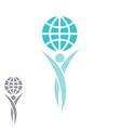 Globe logo man hands up planet together vector image