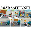 Different scenes with road safety vector image