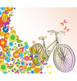 Background with bike and flowers vector image