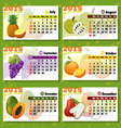 Calendar 2015 Fruits 6 months vector image