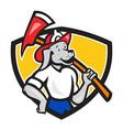 Dog Fireman Firefighter Fire Axe Shield Cartoon vector image
