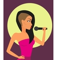 Female rock singer with microphone vector image