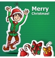 Funny Cute Dwarf Christmas Green vector image