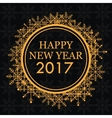 happy new year 2017 greeting card gold snowflakes vector image
