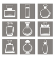 isolated perfume bottles icons set vector image