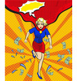 pop art of woman in red cape vector image