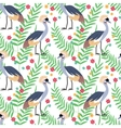 Crowned crane seamless pattern background vector image