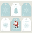Set Christmas gift tags with snoflakes in retro vector image