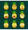 Pineapple Cartoon Emoji Portaraits Fith Different vector image vector image