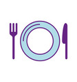 dish with cutlery kitchen vector image vector image