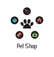 Pet shop logo with pet paw and what dog needs vector image
