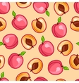 Seamless pattern with stylized fresh ripe peaches vector image