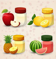 Fruits and juice in a glass jar Set 1 vector image