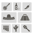monochrome icons with symbols of Mexico vector image