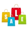 Set of Colorful Sale Shopping Bags Isolated vector image