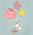 cute mouse with balloons vector image