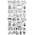 Hand drawn movie doodles vector image