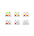 rating with five different color squares vector image
