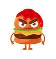 angry burger with ketchup cute cartoon fast food vector image