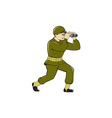 World War Two American Soldier Binoculars Cartoon vector image
