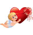 Cupid brings heart vector image