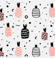geometric and cute hand drawn pineapples pattern vector image