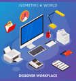 modern flat 3d isometric concept of workplace with vector image