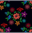 seamless pattern of different flowers vector image