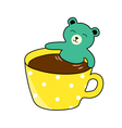 bear smiling in a coffee cup vector image