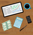 market chart on tablet vector image