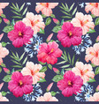 watercolor tropical hibiscus pattern vector image