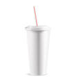 White paper cup with lid detailed vector image