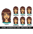 game character girl brown hair emotions set vector image