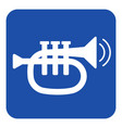 blue white sign - trumpet and two vibration waves vector image