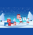 cheerful santa claus snowman holding gift box vector image