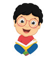 of kid reading book vector image