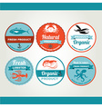 Set of seafood icons crab fish shrimp Retro labels vector image