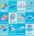 water park attractions flat isometric icon vector image