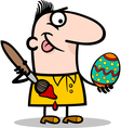 man painting easter egg cartoon vector image
