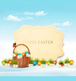 happy easter background eggs in a basket vector image vector image
