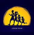 family running silhouettes vector image