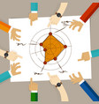 radar chart performance strong aspects hand vector image