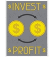 Invest profit Retro poster in flat design style vector image vector image
