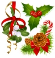 Christmas tree mistletoe and vector image